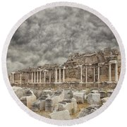 Side Nymphaeum Fountain Ruins Round Beach Towel