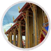 Side Of Royal Temple At Grand Palace Of Thailand In Bangkok Round Beach Towel