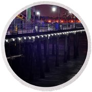 Side Of The Pier - Santa Monica Round Beach Towel