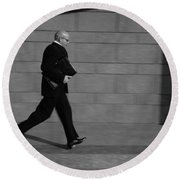 Side Profile Of A Businessman Running Round Beach Towel