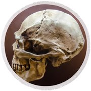 Side Profile View Of Human Skull   Round Beach Towel