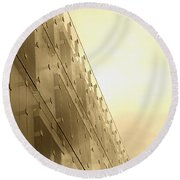 Side View Modern Glass Building In Baltimore Round Beach Towel