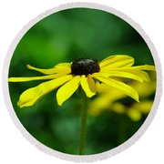 Side View Of A Yellow Flower Round Beach Towel