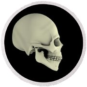 Side View Of Human Skull Round Beach Towel