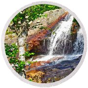Side View Of Southeast Brook Falls In Gros Morne Np-nl Round Beach Towel
