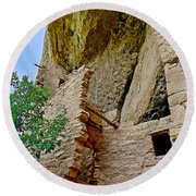 Side Window In Spruce Tree House On Chapin Mesa In Mesa Verde National Park-colorado  Round Beach Towel