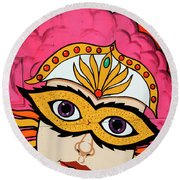 Carnival Mask Palm Springs Round Beach Towel