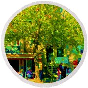 Sidewalk Cafe Rue St Denis Dappled Sunlight Shade Trees Joys Of Montreal City Scene  Carole Spandau Round Beach Towel
