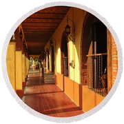 Sidewalk In Tlaquepaque District Of Guadalajara Round Beach Towel by Elena Elisseeva