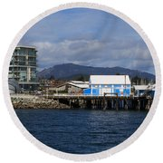 Sidney Harbour On Vancouver Island Round Beach Towel