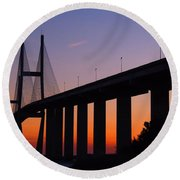 Sidney Lanier Bridge At Sunset Round Beach Towel