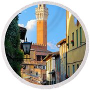 Siena Streets Round Beach Towel by Inge Johnsson