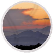 Sierra Elvira Mountains At Sunset Round Beach Towel