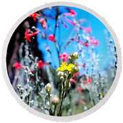 Sierra Wild Flowers II Round Beach Towel