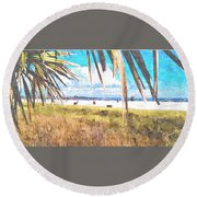 Siesta Key In Fall Round Beach Towel