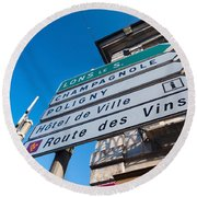 Sign For The Route Des Vins, Arbois Round Beach Towel