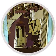 Sign Of The Jackalope Round Beach Towel