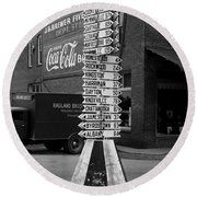 Sign Post In Crossville Tennessee 1939 Round Beach Towel