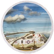 Sikorsky Sh-60b Seahawk Helicopter Round Beach Towel