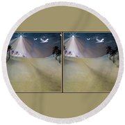 Silent Night - Gently Cross Your Eyes And Focus On The Middle Image Round Beach Towel