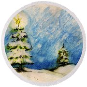 Silent Night Holy Night Round Beach Towel