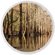 Silent Reflections Round Beach Towel