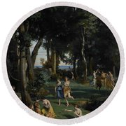 Silenus Round Beach Towel by Jean Baptiste Camille Corot