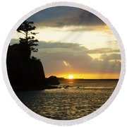 Siletz Bay Sunset Oregon 1 Round Beach Towel