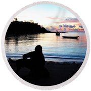 Silhouette At Sunrise Round Beach Towel