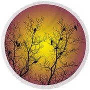 Silhouette Birds Round Beach Towel by Christina Rollo