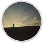 Silhouette In The Sahara Round Beach Towel