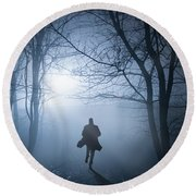 Silhouette Man Running In Foggy Woodland Round Beach Towel