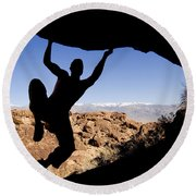 Silhouette Of A Rock Climber Round Beach Towel