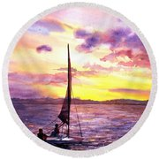 Silhouette Of Boat And Sailors On Torch Lake Michigan Usa Round Beach Towel