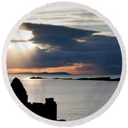 Silhouette Of Dunluce Castle Round Beach Towel by Semmick Photo
