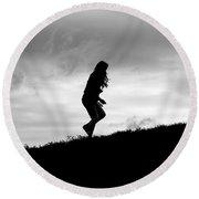 Silhouette Of Girl Running Round Beach Towel