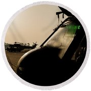 Silhouette Of Hellenic Air Force Search Round Beach Towel