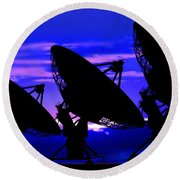 Silhouette Of Satellite Dishes Round Beach Towel