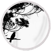 Silhouette Of Singing Common Blackbird In A Tree Round Beach Towel by Stephan Pietzko