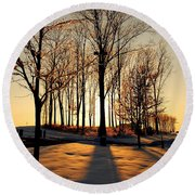 Silhouette Of Trees And Ice Round Beach Towel