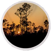 Silhouette Of Trees At Sunset Round Beach Towel