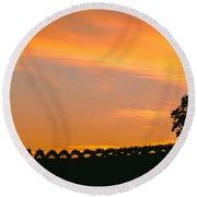 Silhouette Of Vineyard At Sunset, Paso Round Beach Towel