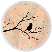 Silhouette Pink Round Beach Towel