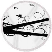 Silhouette Scissors Round Beach Towel
