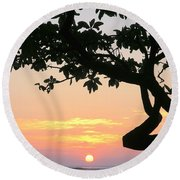 Silhouette Sunrise Round Beach Towel