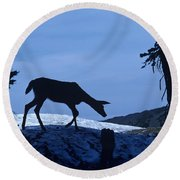 Silhouetted Deer Round Beach Towel