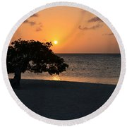 Silhouetted Divi Divi Tree Round Beach Towel
