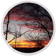 Silhouetted Round Beach Towel