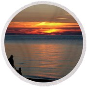 Silhouetted In Sunset At Sturgeon Point Marina Round Beach Towel