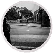 Silhouetted Man Leans Black And White Round Beach Towel
